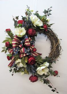 Red, Cream and Navy Silk Floral Large Crescent Americana Front Door Wreath/Patriotic Wreath/Americana Wreath/Summer Wreath/Ready to Ship Christmas Wreaths For Front Door, Spring Door Wreaths, Deco Mesh Wreaths, Summer Wreath, Holiday Wreaths, Diy Christmas, Winter Wreaths, Floral Wreaths, Floral Swags