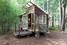 A handcrafted tiny house on a 12 acre fiber farm with angora rabbits goats sheep and chickens. This tiny home in the Catskills has an open plan sleeping loft recycled windows and rustic wood construction. Tiny Cabins, Tiny House Cabin, Tiny House Living, Cabin Homes, Tiny Homes, Tiny Houses For Rent, Tiny House On Wheels, Tiny House Movement, Tiny House Exterior