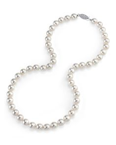 "14K Gold 5.5-6.0mm Japanese Akoya Saltwater White Cultured Pearl Necklace - AAA Quality, 18"" Princess Length"