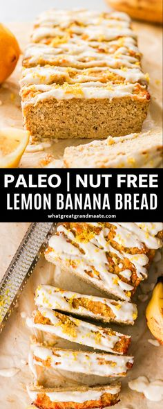 This wonderfully moist and delicious paleo lemon banana bread is nut free and easy to make. The drizzle of lemon glaze makes this a beautiful Springtime treat! Paleo Baking, Baking Recipes, Real Food Recipes, Kitchen Recipes, Paleo Banana Bread, Banana Bread Recipes, Paleo Bread, Lemon Desserts, Lemon Recipes