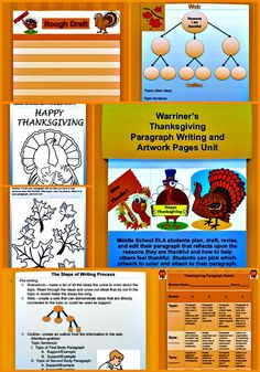 Warriner's Thanksgiving Paragraph Writing and Artwork Pages Unit for Middle School ELA students is a fun, creative Happy Thanksgiving writing and coloring activity. Cool Thanksgiving artwork and graphics increase student interest and enthusiasm and provide a creative connection between writing and art!  Available at Warriner's English and Composition Classroom: https://www.teacherspayteachers.com/Store/Warriners-English-And-Composition-Classroom