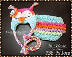 Crochet Owl Hat & Ruffle Diaper Cover Patterns - Ear Flap - 8 Sizes ...