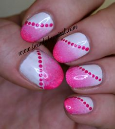 Pink and white manicure done using two of my favorite nail art techniques: sponging and dotticure via  @beautybymissl