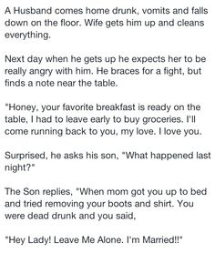 Drunk husband story