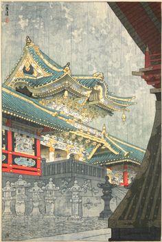 KAWASE HASUI - Four Shin-Hanga Masters : Drizzle at the Yomei gate (Kosame furu Yomeimon) at Davidson Galleries