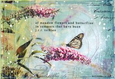 Day 9 11x14 paper print summery butterfly mixed by maechevrette