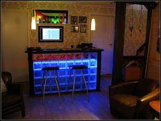 Neon-lit bar. Basement idea!