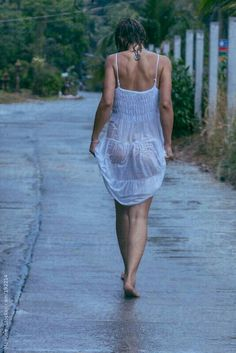 Woman Walking in a Wet Dress After the Rain by Mosuno - Rain, Sexy - Stocksy United Yoga Kunst, Foto Picture, I Love Rain, Rain Photography, Walking In The Rain, Wet Look, Photos Of Women, Sexy Feet, Sensual