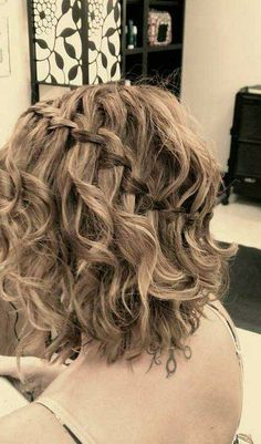 curly short bob with waterfall braid