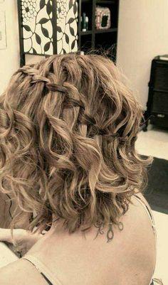 curly short bob with waterfall braid