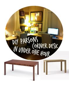 DIY Parsons Corner Desk in Under One Hour! it's super easy to make, and is not expensive at all. Uses a hollow door and screw in parson table legs. TONS of counter space. Great for craft rooms, sewing rooms, and so on.