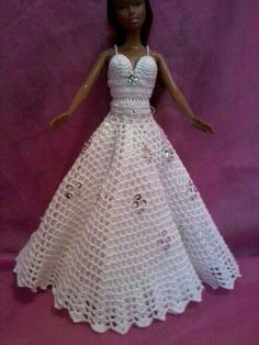 In my search for modest barbie clothes (that won't cost as much as real kid . Crochet Barbie Patterns, Crochet Doll Dress, Barbie Clothes Patterns, Crochet Barbie Clothes, Doll Clothes Barbie, Knitted Dolls, Barbie Doll, Princess Dress Patterns, Vintage Barbie Clothes
