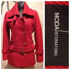 Red Pea Coat  from Victoria's Secret NWOT. Lots of buttons and front pockets. Neck tie can be used if you want to wear the collar up to keep the wind off of your face. Victoria's Secret Jackets & Coats Pea Coats