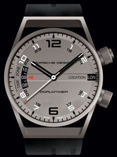 The pure styling of Porsche Design's Worldtimer is heightened by the tones and properties of the titanium, which underscores the timepiece's balanced lines. As well as simplicity, character and eff… Dream Watches, Sport Watches, Luxury Watches, Rolex Watches, Amazing Watches, Beautiful Watches, Cool Watches, Watches For Men, Modern Watches