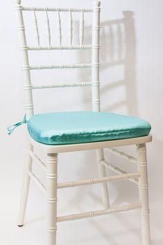 Ivory Vision Furniture brand Chiavari Chair frame. Featuring Tiffany Blue Bengaline Cushion.