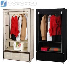 Songmics Canvas Wardrobe With Clothes Hanging Rail Shelves Storage With Drawers Hanging Clothes Rail, Hanging Rail, Canvas Wardrobe, Garment Racks, Storage Shelves, Drawers, Furniture, Ebay, Home Decor