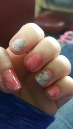 One of my Jamberry manicures!  This is Guava & a Sister Style exclusive! #Jamberry #prettynails