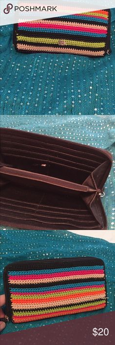 """🎉Reduced🎉SAK wallet  ; 8 and 1/2"""" across Multi-striped, used but in very good condition since I change often. Looks like crocheted. Lots of credit card pockets. Zipper section for coins. SAK Bags Wallets"""