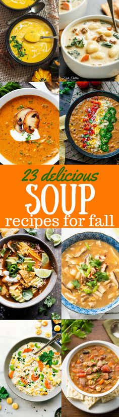 Delicious Soup Recipes 23 Delicious Soup Recipes perfect for fall cooking that will warm your bones, and fill you up with fresh, healthy, seasonal ingredients. Healthy Soup Recipes, Fall Recipes, Cooking Recipes, Delicious Recipes, Healthy Cooking, Dinner Recipes, Tasty, Soup And Sandwich, Stop Eating