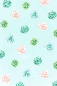 phone wallpaper / background succulent cactus watercolor spring