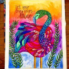 Dreaming of summer  #zentangle #zentangleart #handdrawn #sharpieart #adultcoloringbook #hcibooks #inkspirations #flamingo #rainbow #art #freelanceartist