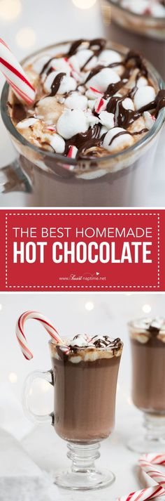 The BEST homemade hot chocolate -a rich and creamy drink that tastes heavenly on a cold winter day! Only takes 5 ingredients and 10 minutes to make.