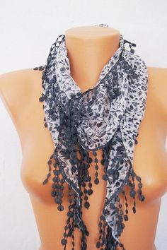 Grey   Floral Yemeni with lace fringe.Authentic by SpecialFabrics