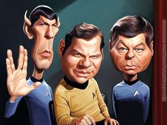 The 3 amigos Star Trek Cartoon Faces, Cartoon Tv, Funny Faces, Funny Caricatures, Celebrity Caricatures, Caricature Drawing, Celebrity Drawings, Star Trek Ships, Star Trek Tos