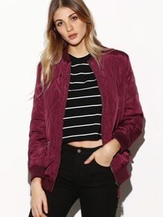 To find out about the Contrast Ribbed Trim Quilted Bomber Jacket at SHEIN, part of our latest Jackets ready to shop online today! Insta Look, Jackets Online, Fashion News, Fashion Fashion, Vintage Fashion, Jeans Fashion, Fashion Trends, Fashion Outfits, Trendy Outfits