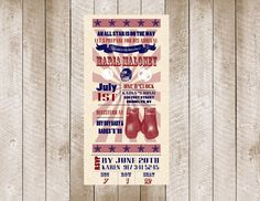 Boxing Themed Baby Shower Invitations