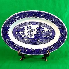 "Vintage Buffalo China MEAT PLATTER Blue Willow Oval Platter 11 1/2"" x 8"" PLATTER"