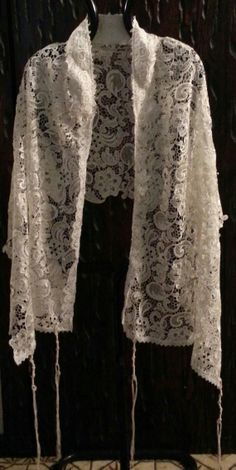 Items similar to Lace tallit (tallis) on Etsy Jewish Tallit, Forest Fashion, Prayer Corner, Chapel Veil, Prayer Shawl, Knitted Shawls, Bat Mitzvah, Torah, Judaism