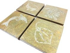 Slate Coasters: Florida Marine Life - Etched Stone Coasters, Florida Coasters, Sting Ray Coasters, Dolphin Coasters, Manatee Coasters, Gift by BlythHouseCreations on Etsy Slate Coasters, Drink Coasters, Coaster Design, Coaster Set, Slate Stone, Ocean Creatures, Manatee, Picture Design, Thank You Gifts