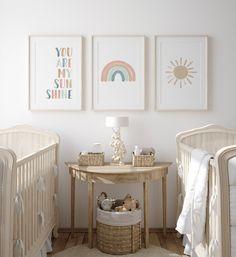 Pastel Rainbow Wall Art Set of 3 Prints You Are My Sunshine   Etsy