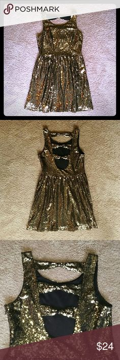 Champagne Sequin Fit and Flare! Champagne colored sequin dress. Zipper under left arm. Adorable back cut out detail! Length from shoulder to hem is 35 inches. Like new condition! Delia's Dresses