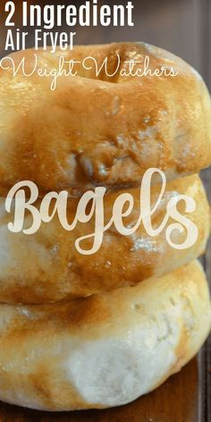 Air Fryer 2 Ingredient Bagels Weight Watchers Friendly Air Fryer 2 Ingredient Bagels are as easy as it gets to making homemade bagels. No yeast, no boiling, and they are done in a hurry. Best of all these 2 ingredient bagels are Weight Watchers friendly! Air Fryer Oven Recipes, Air Frier Recipes, Air Fryer Dinner Recipes, Air Fryer Chicken Recipes, Plats Weight Watchers, Weight Watchers Meals, Air Fryer Recipes Weight Watchers, Ww Recipes, Cooking Recipes