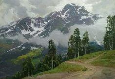 Alexander Babich New plein air sketch (50/70 cm) written in Rosa Khutor Alpine Resort, Sochi, Russia