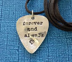 Customized Necklace  Pewter Guitar Pick Necklace  by PickityPick