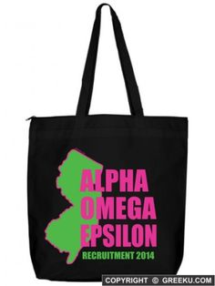 Alpha Omega Epsilon New Jersey State Zippered Poly Tote