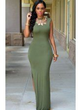 New 2015 Summer Holiday Floor Length Backless Dresses 3 Colors Sleeveless O-Neck Slit Sexy Maxi Dress Mono Mujer Corto Side Slit Maxi Dress, Sexy Maxi Dress, Maxi Dress With Sleeves, Maxi Dresses, Backless Dresses, Long Dresses, Casual Dresses, Shirt Dress, Olive Dress