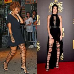 Who Wore it Better?: Rihanna vs Kendall Jenner in DSquared2's Thigh High Lace Up Sandals