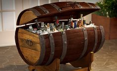 Reclaimed Tequila Barrel Ice Chest -Throw big get-togethers on the regular? As long as they're rarely dry, chances are that investing in a Reclaimed Tequila Barrel Ice Chest would be a wise move. This downright massive booze-cooling drum started its life as a 60 gallon French Oak wine barrel.