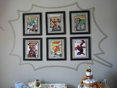 This would be cute on the wall. Instead of pictures a quote or bible verse in comic book style lettering.