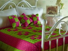 Miniature Pink & Green Hand Quilted by TheLittleEmptyNest on Etsy