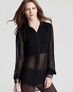 $118 New Free People Best of Both Worlds Black Sheer Bottom Blouse Top Shirt M #FreePeople #ButtonDownShirt