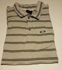 Oakley multi color striped polo green logo short sleeve XL