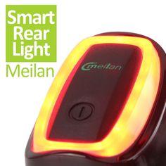 Meilan Inteligente Luz de la Cola de La Bici LLEVÓ La Luz Posterior de La Bicicleta de Choque Y Accesorios Para Bicicletas de Luz Del Sensor Del interruptor 7 Modelo de Flash USB