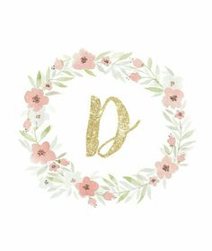 Freebie using watercolor and glitter initial monogram great for printable wall art and iphone, or ipad background. Initial Wall Art, Monogram Wall Art, Letter Art, Monogram Wallpaper, Ipad Background, Invitation Background, Floral Letters, Floral Wall Art, Printable Wall Art