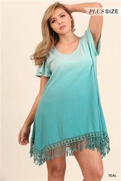 78de6b65e8 UMGEE Plus Trapeze Ombre Dress with Fringe Details Beautiful medium weight  cotton knit is dyed in