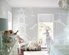 Beautiful nursery mural little to white washed but with brighter colours would be great
